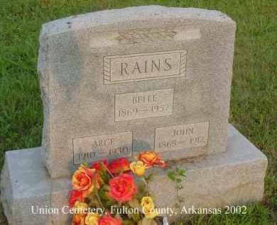 RAINS, JOHN - Fulton County, Arkansas | JOHN RAINS - Arkansas Gravestone Photos