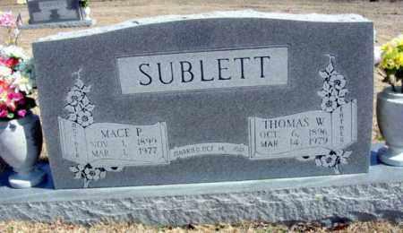SUBLETT, MACE P - Fulton County, Arkansas   MACE P SUBLETT - Arkansas Gravestone Photos