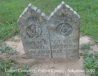 WOOD, VALENTINE T. - Fulton County, Arkansas   VALENTINE T. WOOD - Arkansas Gravestone Photos