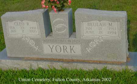 YORK, CLEO R. - Fulton County, Arkansas   CLEO R. YORK - Arkansas Gravestone Photos