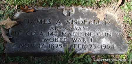 ANDERSON (VETERAN WWI), JAMES ALVIN - Garland County, Arkansas   JAMES ALVIN ANDERSON (VETERAN WWI) - Arkansas Gravestone Photos