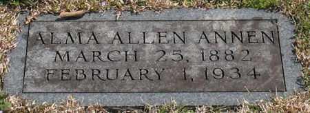 ALLEN ANNEN, ALMA - Garland County, Arkansas   ALMA ALLEN ANNEN - Arkansas Gravestone Photos
