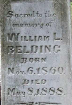 BELDING, WILLIAM L. (CLOSE UP) - Garland County, Arkansas | WILLIAM L. (CLOSE UP) BELDING - Arkansas Gravestone Photos