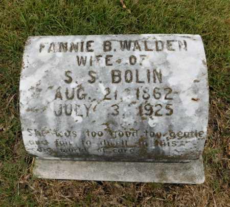 WALDEN BOLIN, FANNIE B. - Garland County, Arkansas | FANNIE B. WALDEN BOLIN - Arkansas Gravestone Photos