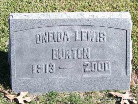 LEWIS BURTON, ONEIDA - Garland County, Arkansas | ONEIDA LEWIS BURTON - Arkansas Gravestone Photos