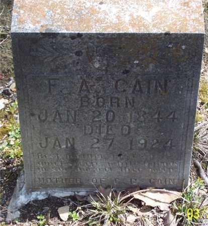 CAIN, F. A. - Garland County, Arkansas | F. A. CAIN - Arkansas Gravestone Photos