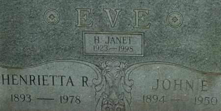 EVE, H. JANET - Garland County, Arkansas | H. JANET EVE - Arkansas Gravestone Photos