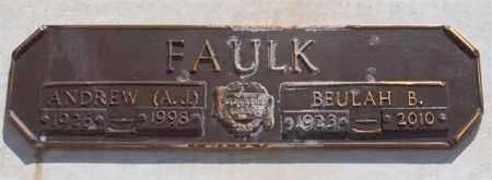"FAULK, ANDREW ""A J"" - Garland County, Arkansas | ANDREW ""A J"" FAULK - Arkansas Gravestone Photos"