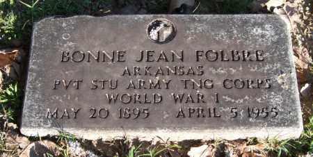 FOLBRE (VETERAN WWI), BONNIE JEAN - Garland County, Arkansas | BONNIE JEAN FOLBRE (VETERAN WWI) - Arkansas Gravestone Photos