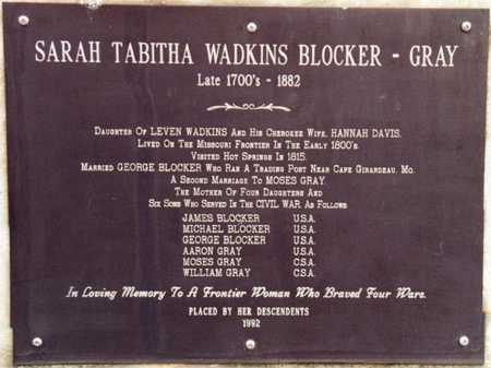 GRAY, SARAH TABITHA BLOCKER - Garland County, Arkansas | SARAH TABITHA BLOCKER GRAY - Arkansas Gravestone Photos