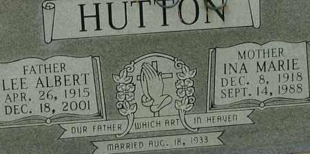 HUTTON, INA MARIE (CLOSE UP) - Garland County, Arkansas | INA MARIE (CLOSE UP) HUTTON - Arkansas Gravestone Photos