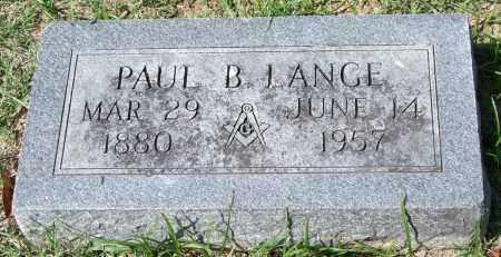 LANGE, PAUL B. - Garland County, Arkansas | PAUL B. LANGE - Arkansas Gravestone Photos