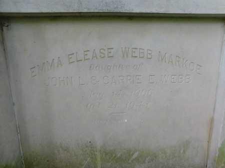WEBB MARKOE, EMMA ELEASE - Garland County, Arkansas | EMMA ELEASE WEBB MARKOE - Arkansas Gravestone Photos