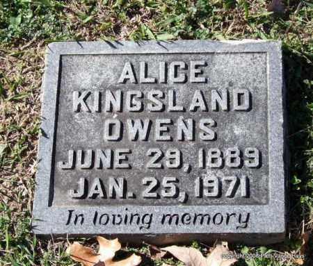 KINGSLAND OWENS, ALICE - Garland County, Arkansas | ALICE KINGSLAND OWENS - Arkansas Gravestone Photos
