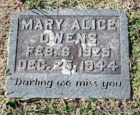 OWENS, MARY ALICE - Garland County, Arkansas | MARY ALICE OWENS - Arkansas Gravestone Photos