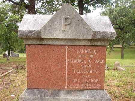 PAGE, FANNIE S - Garland County, Arkansas | FANNIE S PAGE - Arkansas Gravestone Photos