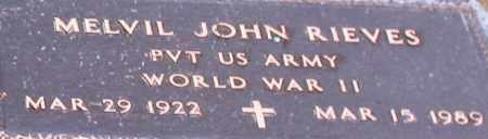 RIEVES (VETERAN WWII), MELVIL JOHN (CLOSE UP) - Garland County, Arkansas   MELVIL JOHN (CLOSE UP) RIEVES (VETERAN WWII) - Arkansas Gravestone Photos