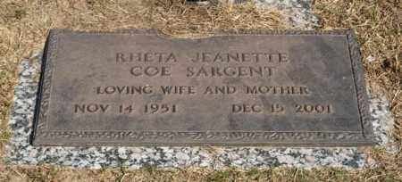COE SARGENT, RHEA JEANETTE - Garland County, Arkansas | RHEA JEANETTE COE SARGENT - Arkansas Gravestone Photos