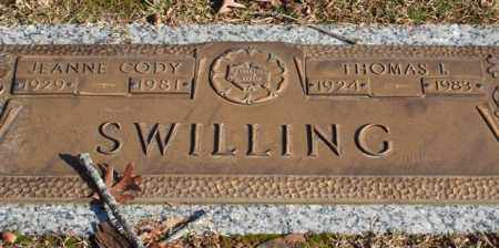 CODY SWILLING, JEANNE - Garland County, Arkansas | JEANNE CODY SWILLING - Arkansas Gravestone Photos