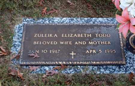 TODD, ZULEIKA ELIZABETH - Garland County, Arkansas   ZULEIKA ELIZABETH TODD - Arkansas Gravestone Photos