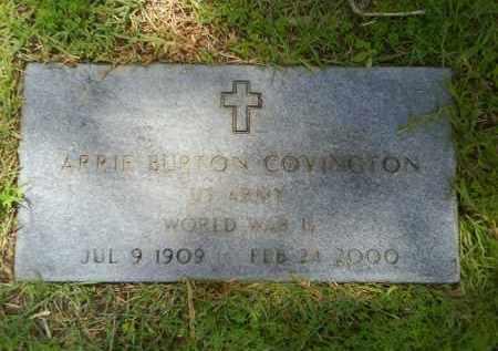 COVINGTON  (VETERAN WWII), ARRIE BURTON - Grant County, Arkansas   ARRIE BURTON COVINGTON  (VETERAN WWII) - Arkansas Gravestone Photos