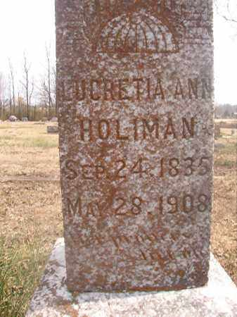 HOLIMAN, LUCRETIA ANN - Grant County, Arkansas | LUCRETIA ANN HOLIMAN - Arkansas Gravestone Photos