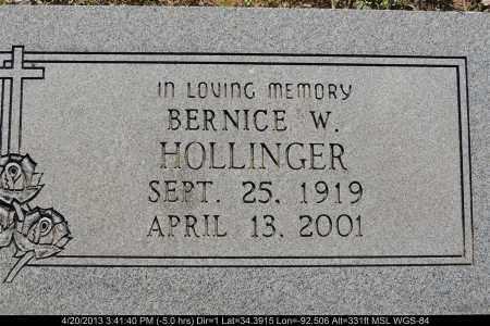 HOLLINGER, BERNICE W - Grant County, Arkansas   BERNICE W HOLLINGER - Arkansas Gravestone Photos