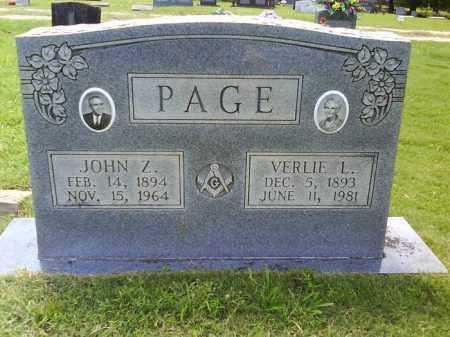 PAGE, JOHN Z. - Grant County, Arkansas | JOHN Z. PAGE - Arkansas Gravestone Photos