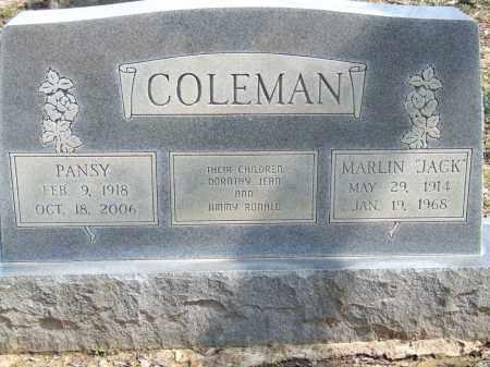 COLEMAN, MARLIN (JACK) - Greene County, Arkansas   MARLIN (JACK) COLEMAN - Arkansas Gravestone Photos