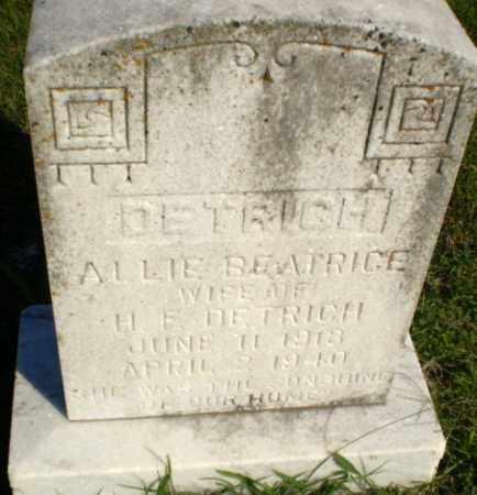 DETRICH, ALLIE BEATRICE - Greene County, Arkansas | ALLIE BEATRICE DETRICH - Arkansas Gravestone Photos