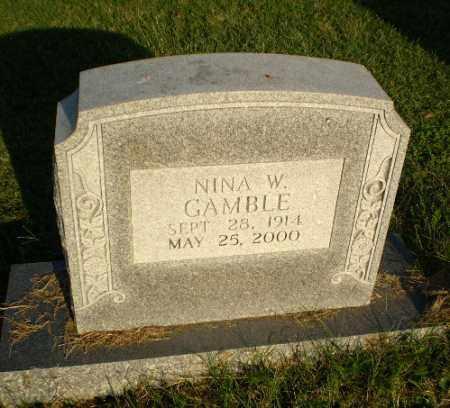 GAMBLE, NINA W - Greene County, Arkansas   NINA W GAMBLE - Arkansas Gravestone Photos