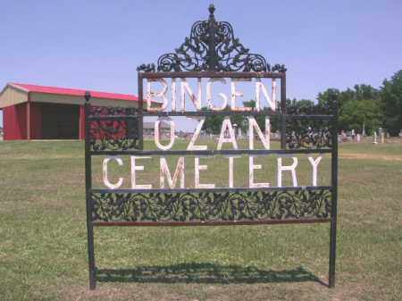 *BINGEN-OZAN CEMETERY SIGN,  - Hempstead County, Arkansas |  *BINGEN-OZAN CEMETERY SIGN - Arkansas Gravestone Photos