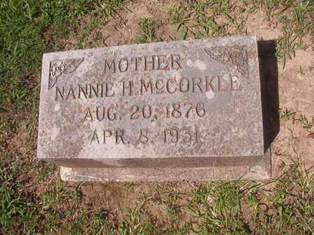 MCCORKLE, NANNIE H - Hempstead County, Arkansas | NANNIE H MCCORKLE - Arkansas Gravestone Photos