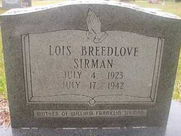 BREEDLOVE SIRMAN, LOIS - Hempstead County, Arkansas | LOIS BREEDLOVE SIRMAN - Arkansas Gravestone Photos