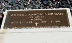 NORMAN (VETERAN KOR), ARVEAL AARON - Hot Spring County, Arkansas   ARVEAL AARON NORMAN (VETERAN KOR) - Arkansas Gravestone Photos