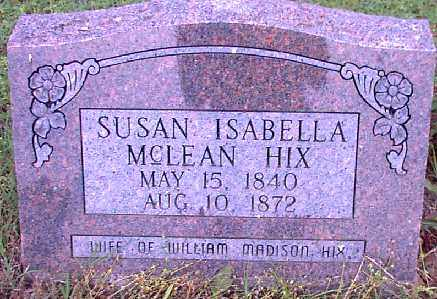 MCLEAN HIX,, SUSANNAH ISABELLA - Independence County, Arkansas | SUSANNAH ISABELLA MCLEAN HIX, - Arkansas Gravestone Photos