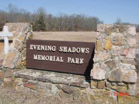 *, EVENING SHADOWS MEMORIAL PARK CEMETERY SIGN - Izard County, Arkansas | EVENING SHADOWS MEMORIAL PARK CEMETERY SIGN * - Arkansas Gravestone Photos