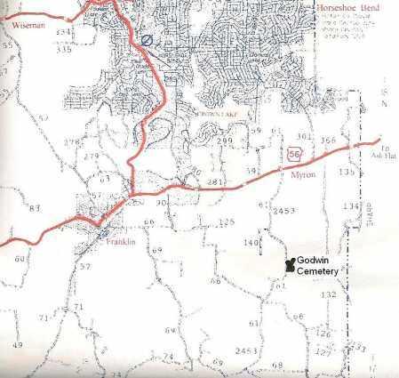 *, GODWIN CEMETERY MAP - Izard County, Arkansas | GODWIN CEMETERY MAP * - Arkansas Gravestone Photos