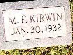 KIRWIN, M F - Johnson County, Arkansas   M F KIRWIN - Arkansas Gravestone Photos