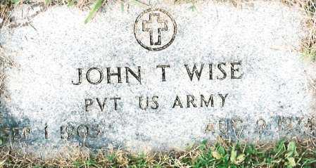 WISE  (VETERAN), JOHN T - Johnson County, Arkansas | JOHN T WISE  (VETERAN) - Arkansas Gravestone Photos