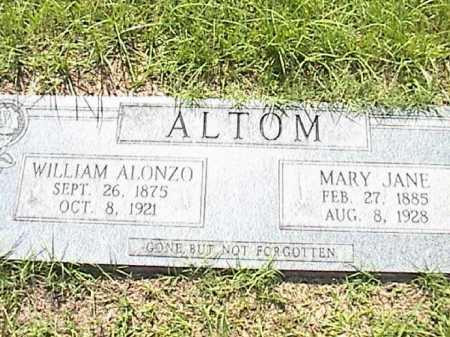 ALTOM, MARY JANE - Lafayette County, Arkansas | MARY JANE ALTOM - Arkansas Gravestone Photos