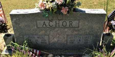 ACHOR, JOHN WORZ - Lawrence County, Arkansas | JOHN WORZ ACHOR - Arkansas Gravestone Photos