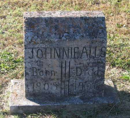 ALLS, JOHNNIE - Lawrence County, Arkansas | JOHNNIE ALLS - Arkansas Gravestone Photos