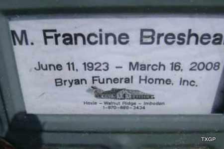 BRESHEARS, M. FRANCINE - Lawrence County, Arkansas | M. FRANCINE BRESHEARS - Arkansas Gravestone Photos