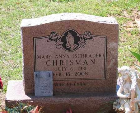 CHRISMAN, MARY ANNA - Lawrence County, Arkansas | MARY ANNA CHRISMAN - Arkansas Gravestone Photos