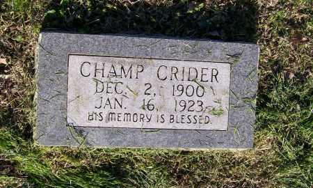 CRIDER, CHAMP - Lawrence County, Arkansas | CHAMP CRIDER - Arkansas Gravestone Photos