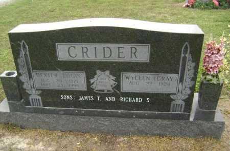 CRIDER, DEXTER LOUIS - Lawrence County, Arkansas   DEXTER LOUIS CRIDER - Arkansas Gravestone Photos