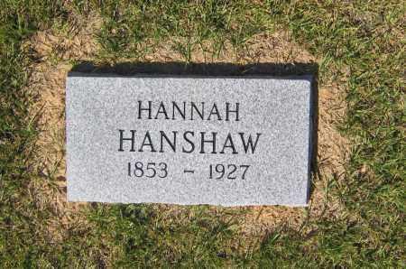 HANSHAW, HANNAH - Lawrence County, Arkansas | HANNAH HANSHAW - Arkansas Gravestone Photos