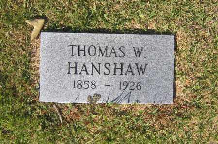 HANSHAW, THOMAS W. - Lawrence County, Arkansas | THOMAS W. HANSHAW - Arkansas Gravestone Photos
