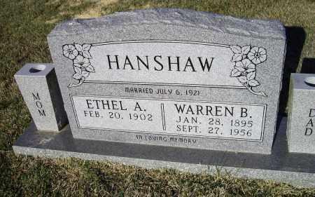 HANSHAW, ETHEL ANGELINE - Lawrence County, Arkansas   ETHEL ANGELINE HANSHAW - Arkansas Gravestone Photos